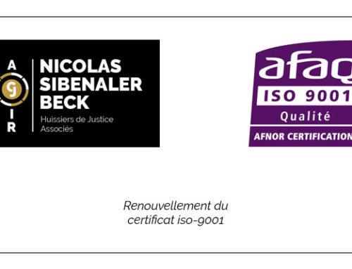 Renouvellement du certificat ISO 9001 pour les 2 études ACJIR